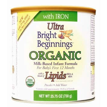 Bright Beginnings Organic Milk Based Infant Formula Powder with Iron and DHA, 25.75 Ounce Cans (Pack of 6)