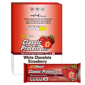 Mauer Classic Protein Bar, White Chocolate Strawberry, 12 pk, 2.1 oz