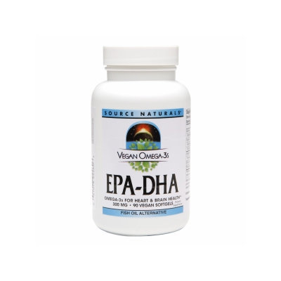 Source Naturals Vegan Omega-3s EPA-DHA 300mg, Vegan Softgels, 90 ea