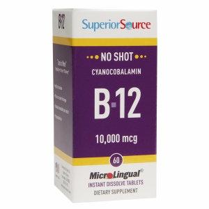 Superior Source - No Shot B12 Cyanocobalamin Instant Dissolve 10000 mcg. - 60 Tablets