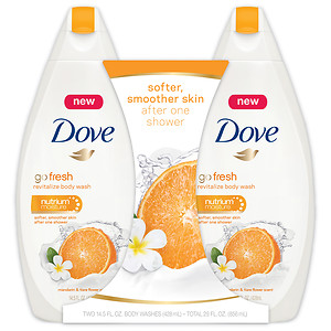 Dove Revitalize Body Wash, Twin Pack, Mandarin & Tiara Flower, 14.5 oz