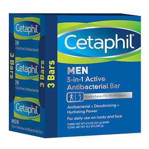 Cetaphil Men 3-in-1 Active Antibacterial Bar, 3 pk, 13.5 oz