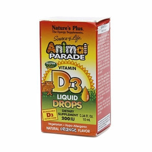Nature's Plus Animal Parade Vitamin D3 Liquid Drops, 200 IU, Orange, .34 fl oz