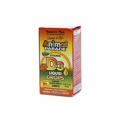 Nature's Plus Animal Parade Vitamin D3 Liquid Drops, 200 IU, Orange, .34 fl oz