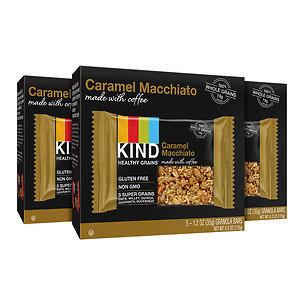 KIND Healthy Grains Granola Bars 3 Pack, 15 pk, Caramel Machiato Made with Coffee, 1.2 oz