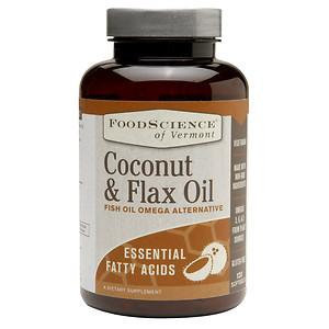FoodScience of Vermont Coconut and Flax Oil, Fish Oil Omega Alternative, 120 Softgels