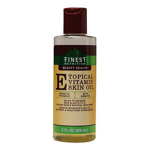 Finest Nutrition Topical Vitamin E Skin Oil with Keratin, 3 oz