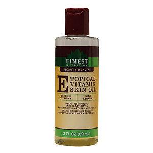 Finest Nutrition Topical Vitamin E Skin Oil with Keratin, 3 oz