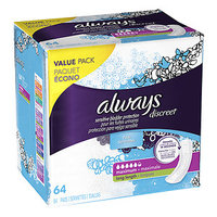 Always Discreet Incontinence Pads, Maximum, Long Length, 64 ea