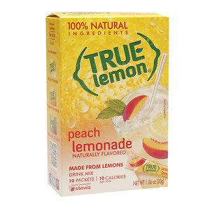 True Citrus True Lemon Water Enhancer Mix Peach Lemonade 10 Packets