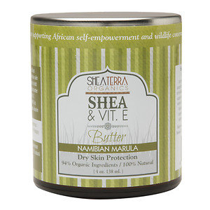 Shea Terra Organics Shea & Vitamin E. Butter, Namibian Marula, 4 oz