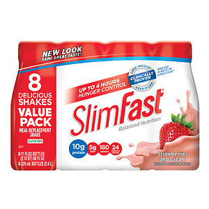 Slim-Fast Ready to Drink Meal Replacement Shake, 8 pk, Strawberries & Cream, 11 oz