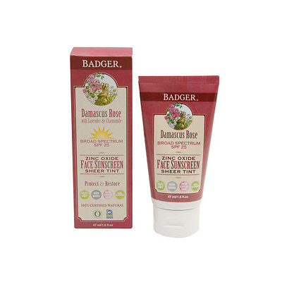 Badger Tinted Rose Face Sunscreen Lotion, SPF 25, 1.6 oz