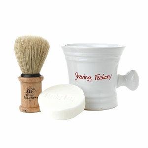 Shaving Factory Shaving Set, White, 1 ea