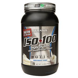 Dymatize ISO100 Hydrolyzed 100% Whey Protein Isolate Birthday Cake - 1.6 lbs
