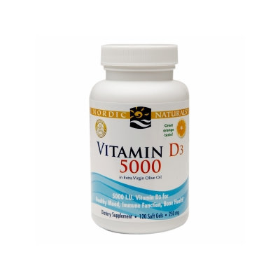 Nordic Naturals Vitamin D3 5000 IU, Softgels, Orange, 120 ea