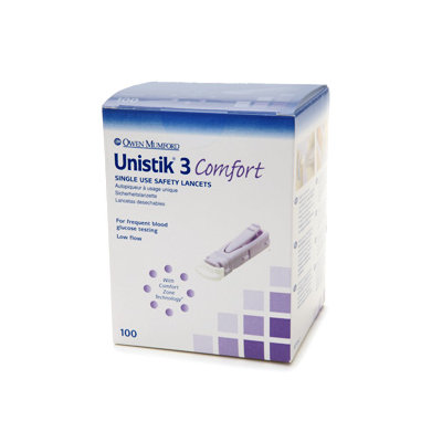 Owen Mumford Unistik 3 Comfort 28G Lancets Box of 100