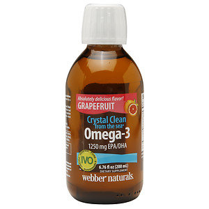 Webber Naturals Crystal Clean from the sea Omega-3 1250mg EPA/DHA, Grapefruit, 6.76 oz