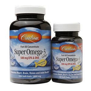 Carlson Labs - Super Omega-3 Gems in Fish Gelatin 500 mg. - 130 Softgels