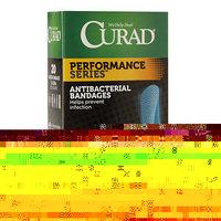 Curad Performance Series Antibacterial Bandages, Assorted Colors, 1 x 3.25 inch (2.5 x 8.2cm), 20 ea