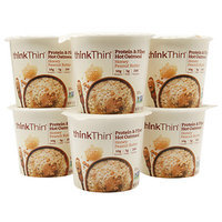 Thinkthin think Thin Protein & Fiber Hot Oatmeal Cups, Honey Peanut Butter, 6 pk, 1.76 oz