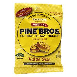 Pine Bros. Softish Throat Relief Drops Value Size, Lemon Citrus, 32 ea