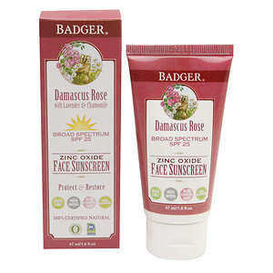 Badger Rose Face Sunscreen Lotion, SPF 25