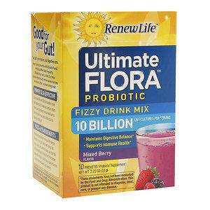 ReNew Life Ultimate Flora Probiotic Fizzy Drink Mix 10 Billion, Mixed Berry, 10 pk, .28 oz
