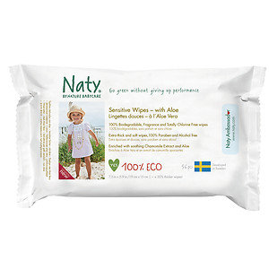 Naty by Nature babycare Eco Sensitive Wipes, Aloe, 56 ct