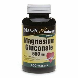 Mason Natural Magnesium Gluconate, 550mg, Tablets, 100 ea