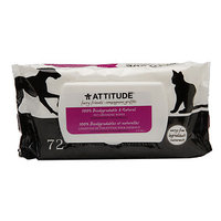 Attitude furry friends Pet Grooming Wipes 100% Biodegradable & Natural, Fragrance Free, 72 count