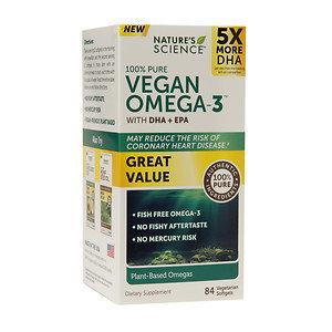 Nature's Science Vegan Omega-3 with DHA + EPA, Softgels, 84 ea