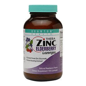 Quantum Health Thera Zinc Elderberry Lozenges Natural Raspberry 60 Lozenges