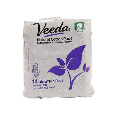 Veeda Natural Ultra Thin Day Pad with Wings, 14 ea