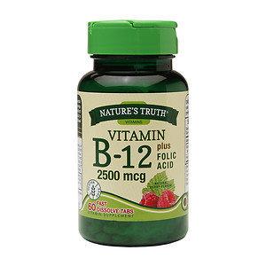 Nature's Truth Vitamin B-12 Plus Folic Acid 2500mcg, Berry, 60 ea