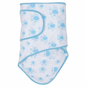Miracle Industries Miracle Blanket - Elephants with Blue Trim (Newborn)
