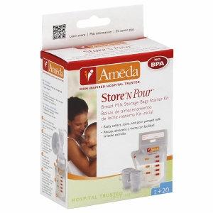 Ameda Store N Pour Breast Milk Storage Kit - 40 Count