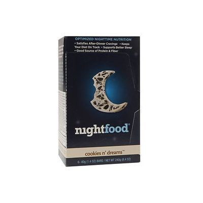 NightFood Nutrition Bar, Cookies N' Cream, 6 ct