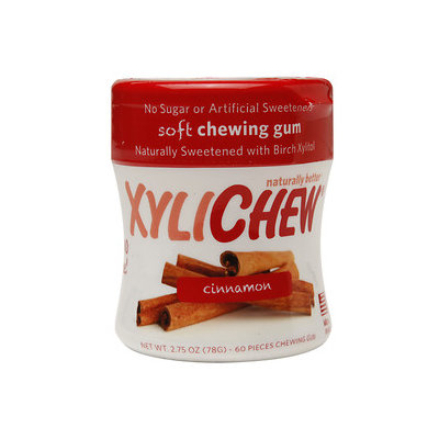 Xylichew Soft Chewing Gum Sweetened with Birch Xylitol Canister Packs, Cinnamon, 4 pk, 240 ea