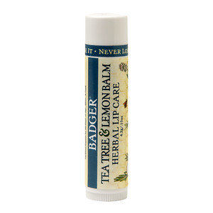 Badger Tea Tree & Lemon Balm Herbal Lip Care, Classic, .15 oz