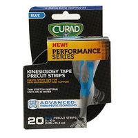 Curad Performance Series Kinesiology Tape Precut Strips, 2 x 10 Inch (5.08 x 25.4cm), Blue, 20 ea