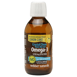 Webber Naturals Crystal Clean from the sea Omega-3 1250mg EPA/DHA with 1000IU Vitamin D3, Lemoncake, 6.76 oz