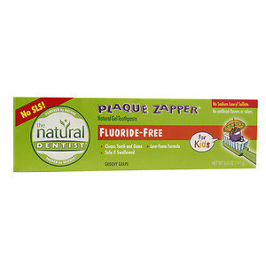 The Natural Dentist Plaque Zapper Natural Gel Toothpaste, Fluoride Free Groovy Grape