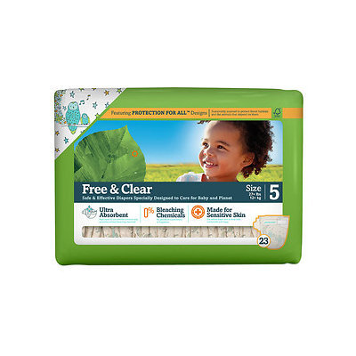 Seventh Generation Free & Clear Sensitive Skin Baby Diapers, Value Pack, Animal Prints, Stage 5, 27+ lbs, 5pk, 5 ea