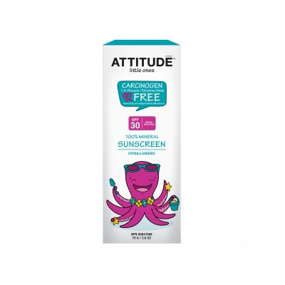 Attitude Little Ones 100% Mineral Sunscreen SPF 30, Fragrance Free, 2.6 oz