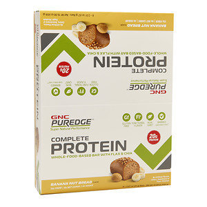 GNC Puredge Complete Protein Whole-Food-Based Protein Bars, Banana Nut Bread, 8 ea