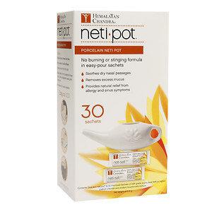 Himalayan Institute Porcelain Neti Pot with 30 Neti Salt Sachets, 1 ea