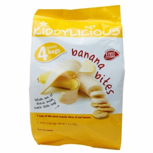 Kiddylicious SNACK, BANANA BITES, (Pack of 4)