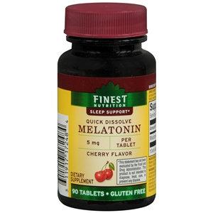 Finest Nutrition Melatonin 5mg, Quick Dissolve Sublingual Tablets, Cherry, 90 ea