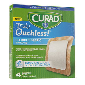 Curad Truly Ouchless Flexible Fabric Bandage, 4 x 4 inch (10.16 x 10.16cm), 4 ea